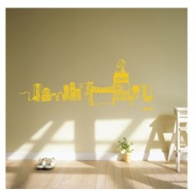 【Smart Design】オシャレな壁紙シール/スカイライン/ノリ跡が残らない/壁飾りウォールステッカー#イエロー【新品/送料込み】