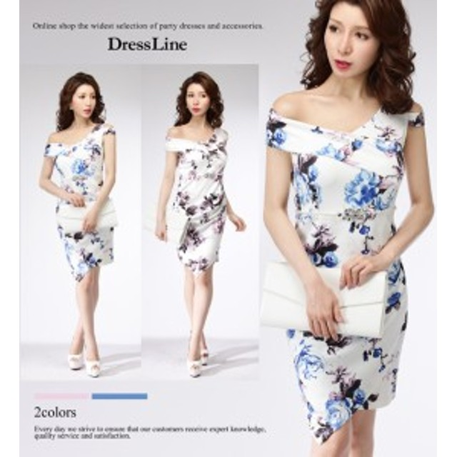 3bf8f14ac678e  2サイズ アシンメトリーデコルテ フローラル ストレッチ ワンピース ドレス キャバドレス 袖あり 大きい