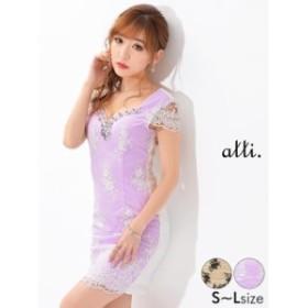 ドレス キャバ ワンピース 大きいサイズ SMLサイズ フラワー刺繍タイトミニドレス キャバドレス