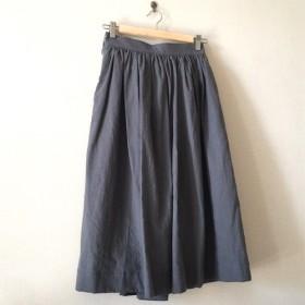 ハーフリネン 大人可愛いロングギャザースカート