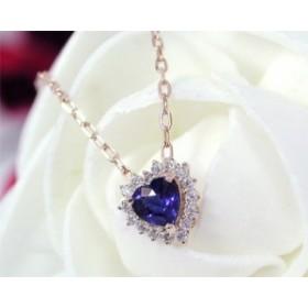 サファイア ダイヤモンド ネックレス K10PG 【送料無料】