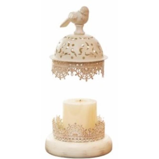 キャンドルホルダー 小鳥モチーフ ガラスの彫刻風 アンティーク調 ホワイト (小サイズ)