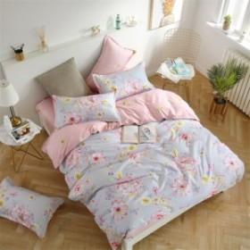 大特価  寝具カバー 4点セット 柔らか優しい肌触り 掛布団カバー シーツ 爽やか キッズ  速乾 3点セット 吸汗 清潔  ピング色花柄H-011