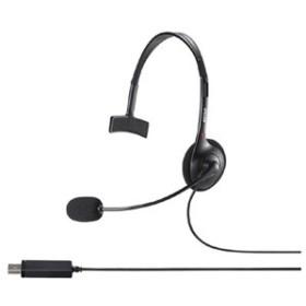 バッファロー BSHSHUM110BK 片耳ヘッドバンド式ヘッドセット USB接続(ブラック)BUFFALO[BSHSHUM110BK]【返品種別A】