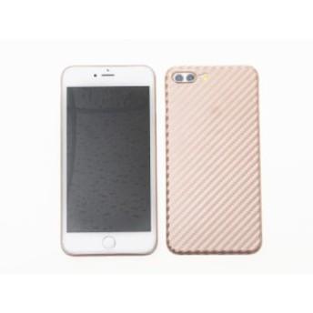 Apple iPhone 7 Plus iPhone 8Plus 用 360度カバー 上質感 カーボン調模様 軽量型ケース 保護カバー#ローズゴールド