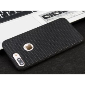Apple iPhone 7 Plus iPhone 8Plus用 PC+LSRシリコン製 ドット 軽量 通気性 保護ケース カバー #ブラック【新品/送料込み】