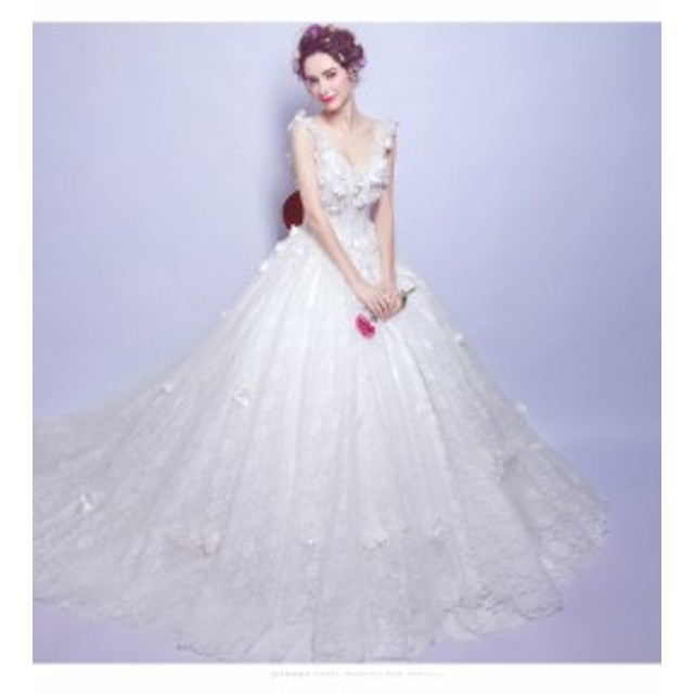 410019dcefb76 華やかウエディングドレス Vネック プリンセスライン 白ホワイト 花嫁ウエディングドレス Aライン ロングドレス