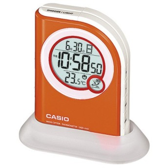 カシオ デジタル電波置き時計 LEDライト付 オレンジ 1個