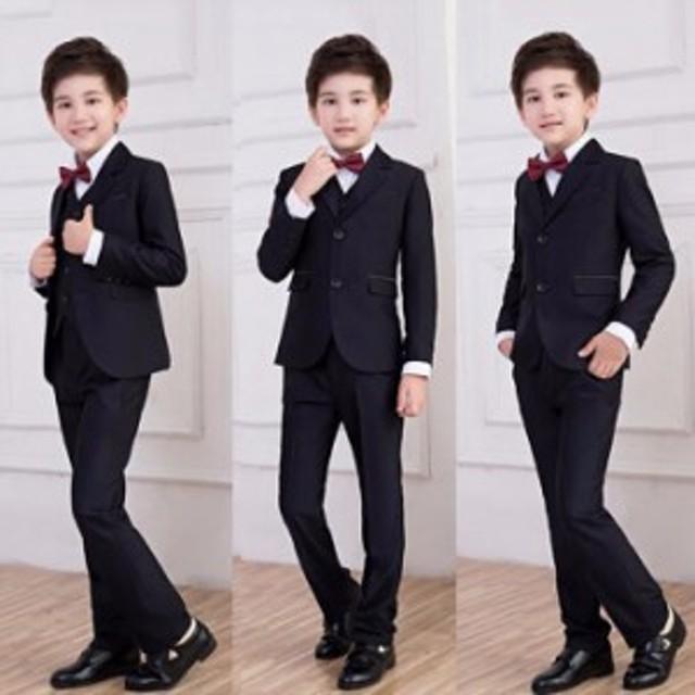 9c77da721dc44 男の子フォーマル ジュニア スーツ ストライプ 卒業式 英国式 子供服 5点セット スーツ 卒業