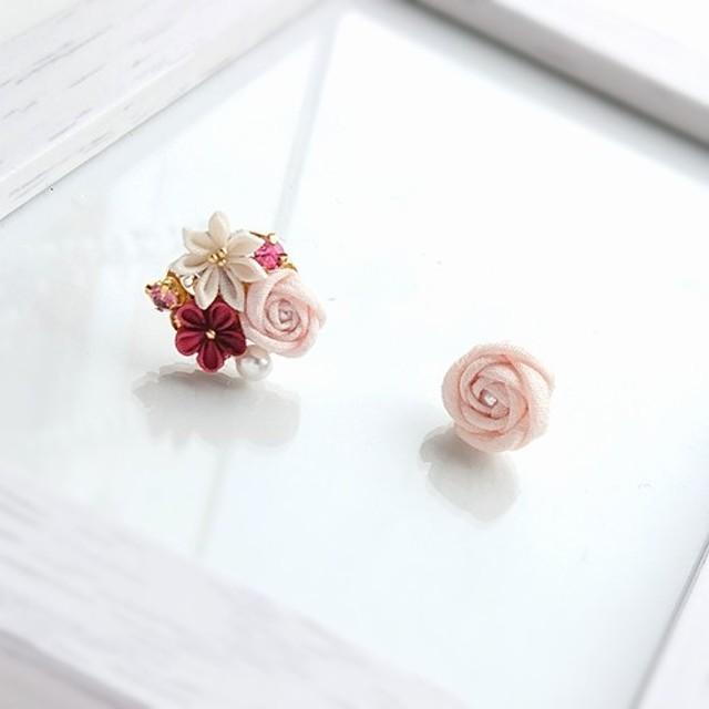 花束ピアスピンクの花束つまみ細工