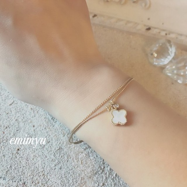Flower Shell Double Chain Bracelet