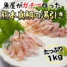 [新規出店記念]【真鯛の湯引きサク切り たっぷりの1kg】熊本産の鮮度の良い真鯛 皮目がぷりぷりの食感で本当に美味しい ビールのお供に