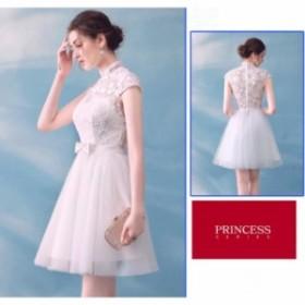 パーティードレス 半袖 白 レース 花嫁 二次会 ドレス ウェディングドレス ミニ カラードレス 結婚式 コンサート 演奏会 ワンピース