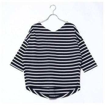 コムサイズム COMME CA ISM バックリボン ボーダーTシャツ (ネイビー)