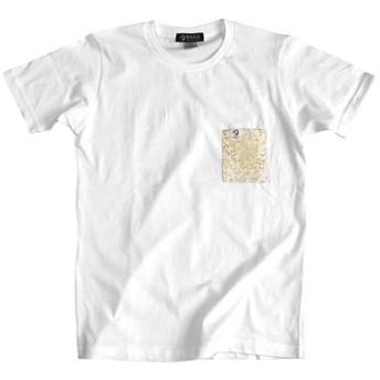 和柄 金襴 半袖Tシャツ 雪月風花 白×白龍 男女兼用