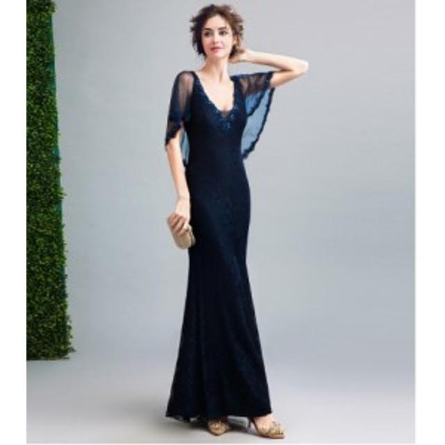 スレンダーライン ロングドレス  パーティードレス イブニングドレス ウェディン カラードレス 二次会 披露宴 演奏会 発表会 高品質