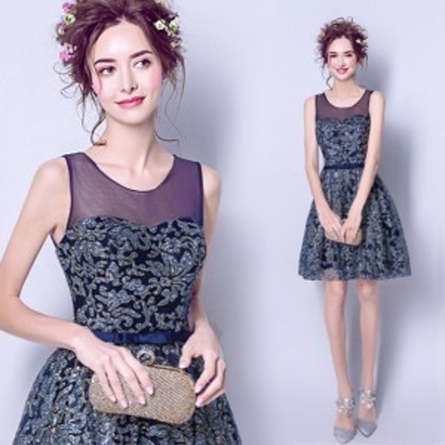 520ad120e4a86 ウェディングドレス ミニ カラードレス ネイビー スパンコール ウエディングドレス 花嫁 二次会 ドレス 結婚式 コンサート ワンピース