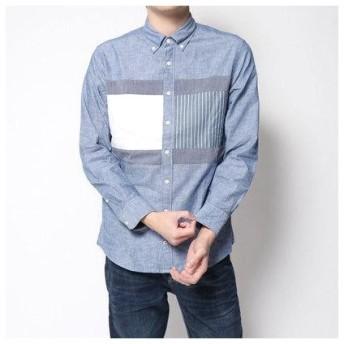 トミーヒルフィガー TOMMY HILFIGER フラッグパッチワークシャツ (ブルー)
