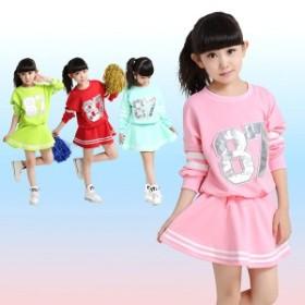 ダンス衣装 子供服 チアガール ダンスウェア  キッズ スパンコール チアリーダー 野球 ジュニア ステージ衣装
