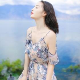 花柄 ビーチドレス ロングドレス 《グレー系》