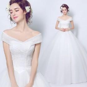 6e8bdd125bec0 花嫁ドレス ウエディングドレス 披露宴二次会 気質オフショルダー Aライン ロングドレス無地ホワイト 白
