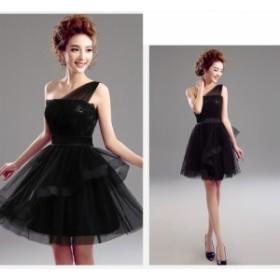 ブラック パーティドレス ショート丈 イブニングドレス ワンピース 誕生日 お呼ばれ 発表会 舞台衣装 ミニドレス