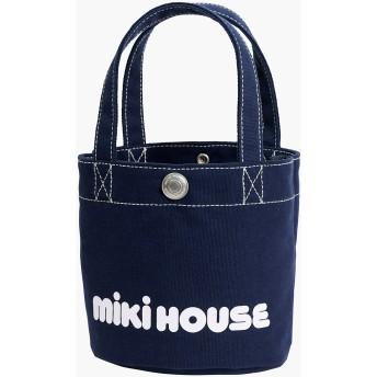 ミキハウス バケツ型 ミニロゴトートバッグ 紺