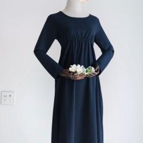 ワンピース コットン スカート 亜麻 ネイビー ゆったり ふんわり ロング丈 「身幅調整可能」001