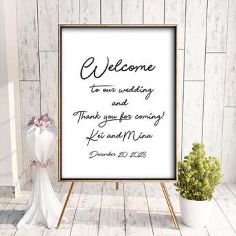 ウェルカムボード 名入れ シンプル モノトーン ポスター印刷 パネル加工OK bord0107 結婚式 二次会