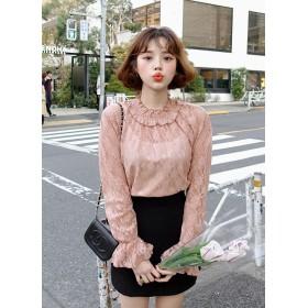 Love in TOKYO フリルネックフラワーレースブラウス・全3色・e49090