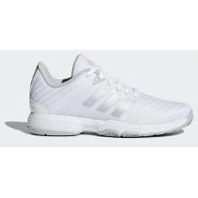 (セール)adidas(アディダス)レディーステニスシューズ BARRICADE CODE COURT AC W FBU83 DB1746 レディース ランニングホワイト/マットシルバー/グレーTWO F17