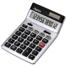 アスカ 消費税電卓 チルト 12桁 シルバー C1236S 1台