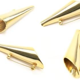 日本製【4個入り】円錐ブローチピン・コーン・筒型(ゴールド・ブローチパーツ)
