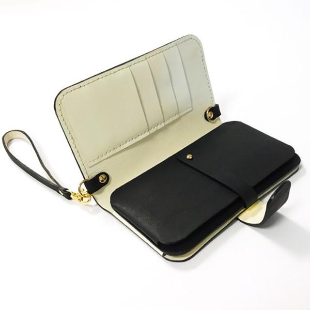 霧黒革携帯電話バッグ/財布