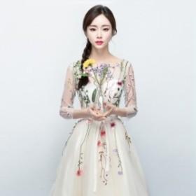 パーティードレス 結婚式ドレス ウエディングドレス ミモレ丈 花柄 袖あり レース きれいめ 大人 上品 お呼ばれ 食事会 二次会 成人式