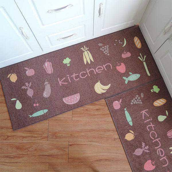 時尚創意地墊192 廚房浴室衛生間臥室床邊門廳 耐髒吸水長條防滑地毯(50*120cm 1件裝)