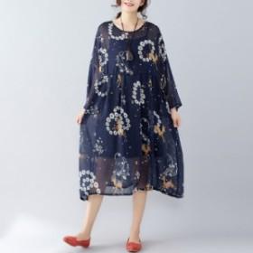 花柄シフォンワンピース ドレス 《ブラック》