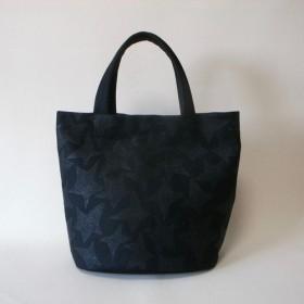 オリジテキスタイル、お星楕円底トート、岡山産ブラックセルビッチ、綿、A4サイズ 黒×黒 肩に掛かる長めな持ち手