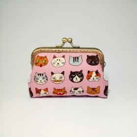 [1987 Handmades小さな猫 - ピンク]クラッチ財布の口の金のパッケージ