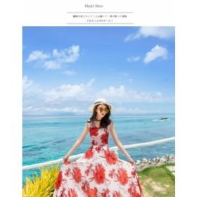 花柄 Vネック リゾートドレス《3colors》