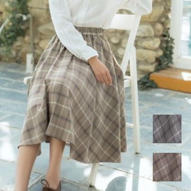 チェック スカート フレア ギャザー