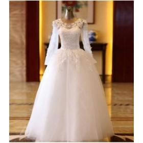 0a3cd00474559 新品 ウエディングドレス シースルー 長袖 プリンセスライン 花嫁 結婚式ドレス 白ホワイト 二次会 披露宴 ウエディング