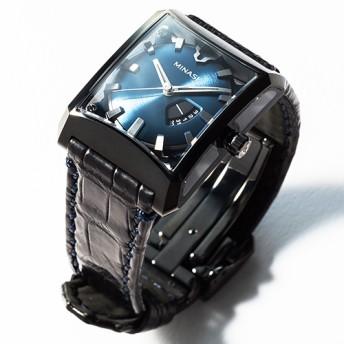 【MINASE】腕時計「FIVE WINDOWS midsize」藤巻百貨店別注カラーブラックケースxブルー文字盤