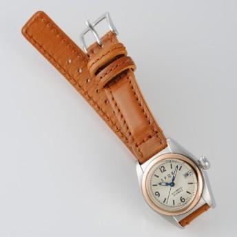 【SPQR】Ventuno fj「ピンクゴールドベゼルケースxSOMESキャメルベルト腕時計」