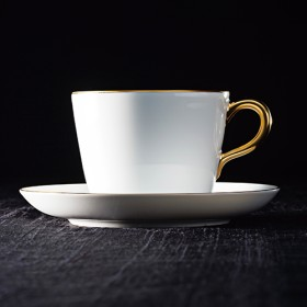 【大倉陶園】ゴールドライン モーニングカップ&ソーサー(一客)