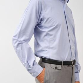 【INDUSTYLE TOKYO】動体裁断ニットドレスシャツ COOL MAXヘリンボン長袖ワイドカラー