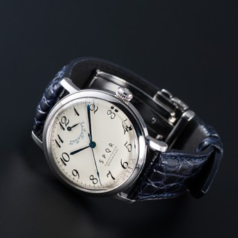 【SPQR】THE SPQR「紺クロコダイル+Iタイプ3つ折れバックル腕時計」