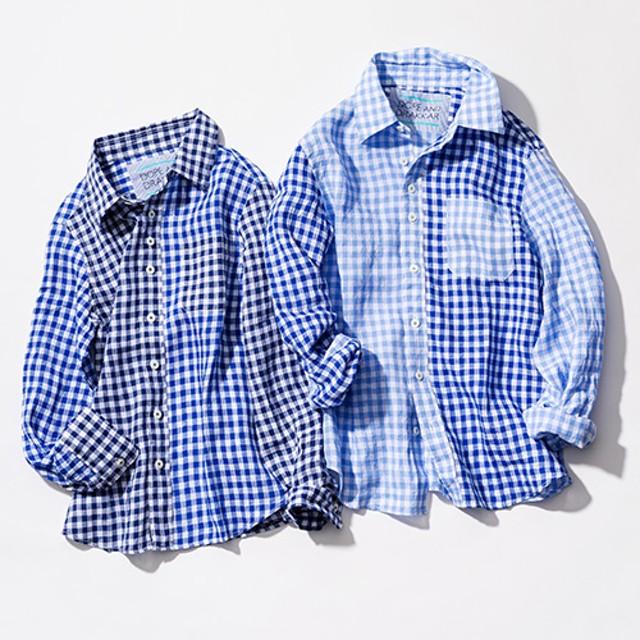 【DOPE & DRAKKAR】フレンチリネン ギンガムチェックシャツ