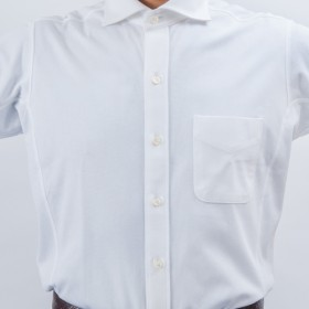 【INDUSTYLE TOKYO】動体裁断ドレスシャツ トリコット鹿の子 半袖ワイドカラー