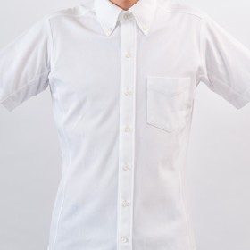 【INDUSTYLE TOKYO】動体裁断ドレスシャツ トリコット鹿の子 半袖ボタンダウン